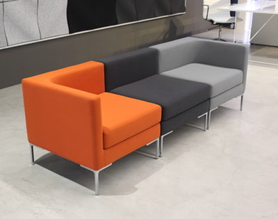 Pixel model orange, light grey and dark fabric modular office sofa and chrome legs