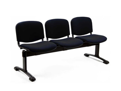 Iso bench 3 seats black legs, seat and back black fabric in Lebanon
