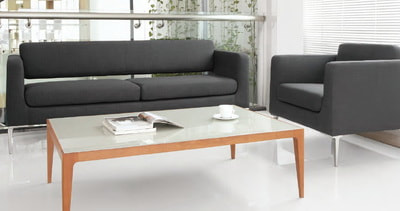 set of Italian design sofa in black leather with glass coffee table and wooden legs