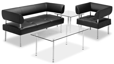 business class sofa set with chrome legs with glass tempered coffee table