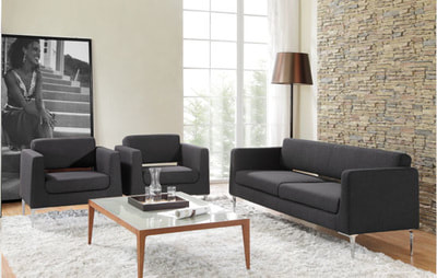 set of Italian design sofa two armchair and one love seat in black leather with glass coffee table and wooden legs
