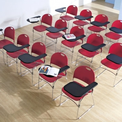 modern classroom red chair with foldable tablet chrome frame