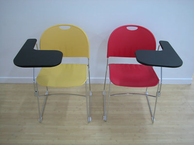 right or left writing tablet for classroom chair yellow and red plastic