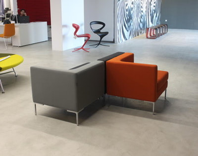 orange and grey fabric modular office sofa and chrome legs