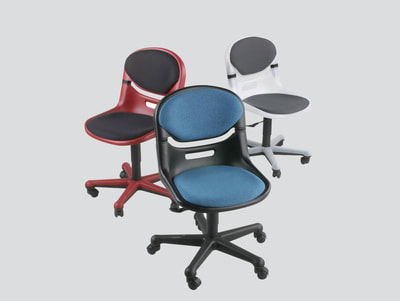 strong smile flex light grey or black or burgundy plastic swivel chair without arms and upholstered fabric