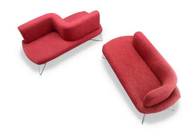 irregular sofa series designed for either 1 or 2 seat elements for hotel areas, moody model top view