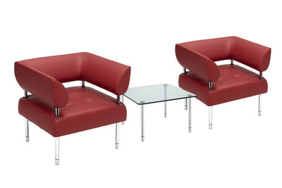 business class red leather armchair with chrome legs with glass tempered coffee table