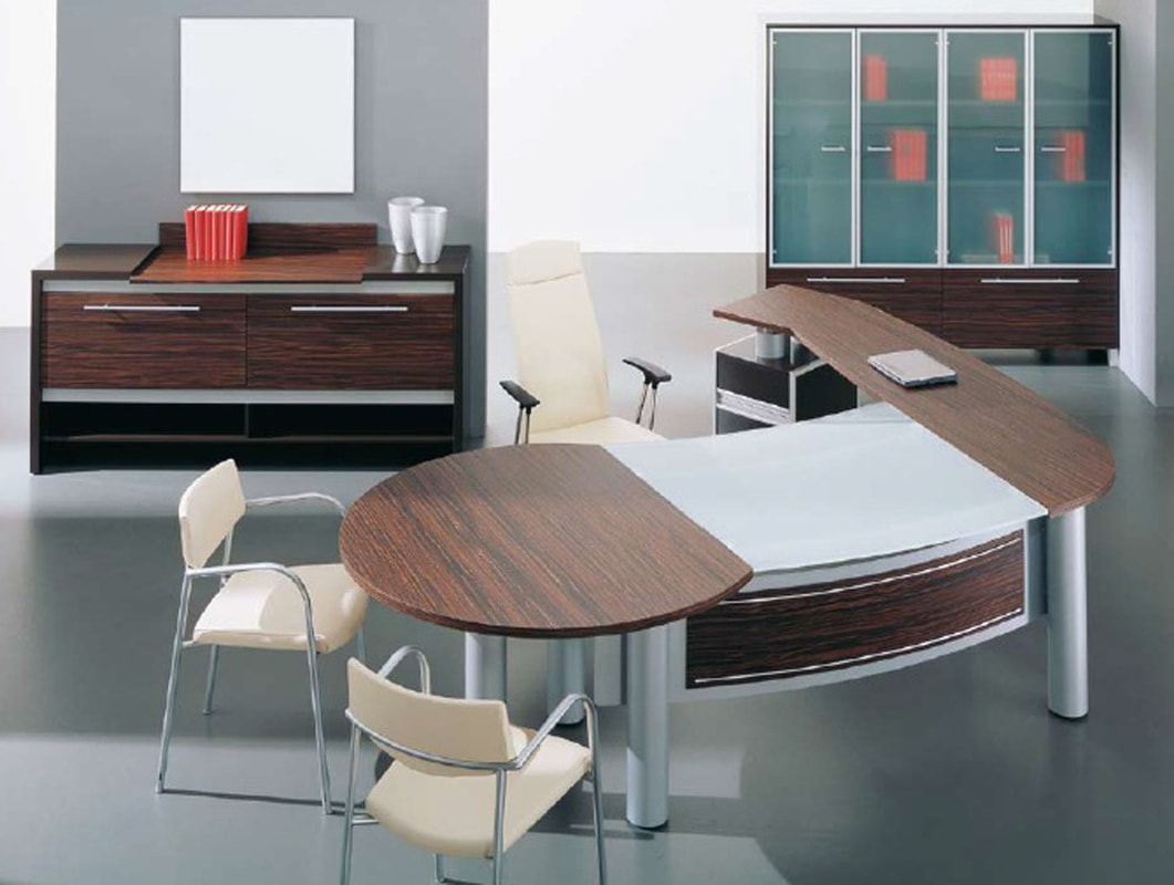 Italian modern glass and wood desk