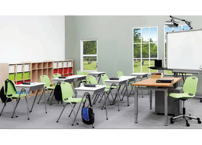 light green plastic classroom chair with teacher table and cabinets
