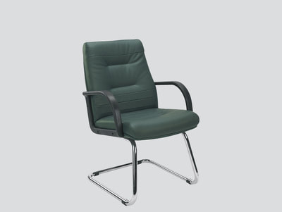 Italian leather guest chair with arms chrome frame