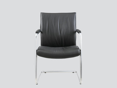 leather visitor chair with arms, chrome frame