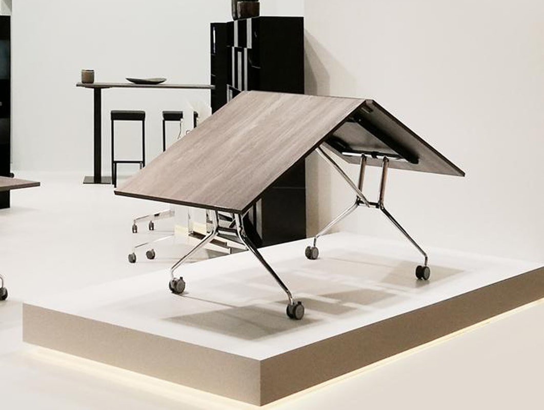 space saving design table on castors