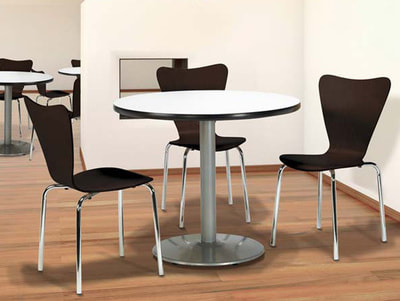 plywood kitchen chairs with round table with chrome base in Lebanon