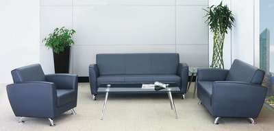 Cubo modern couch set artificial leather with glass coffee tables