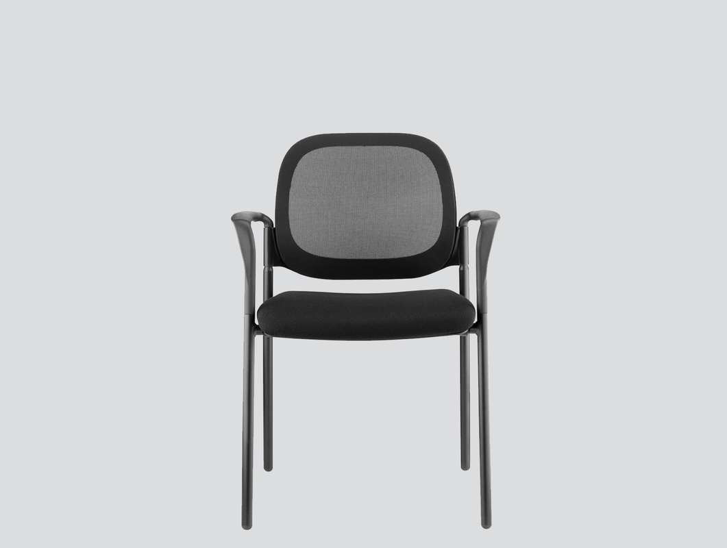 visitor chair mesh back with arms, four legs
