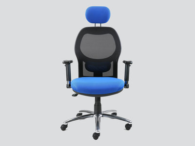Mesh office chair with headrest and chrome base