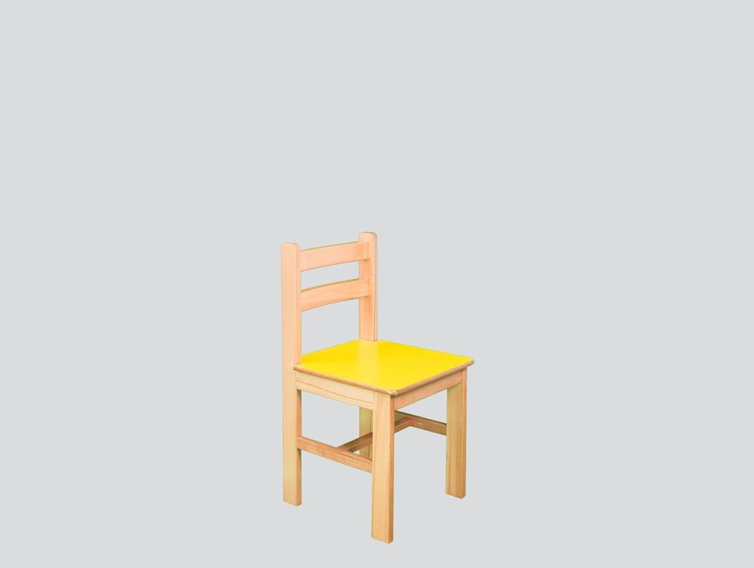 strong yellow wood kindergarten chair
