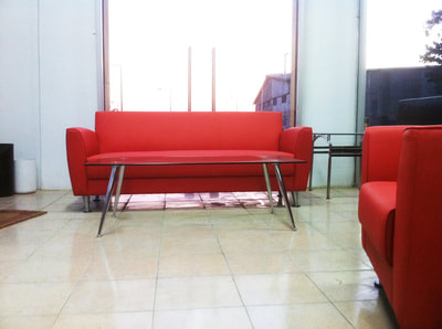 Cubo modern red couch 3 seats artificial leather with rectangular glass coffee table