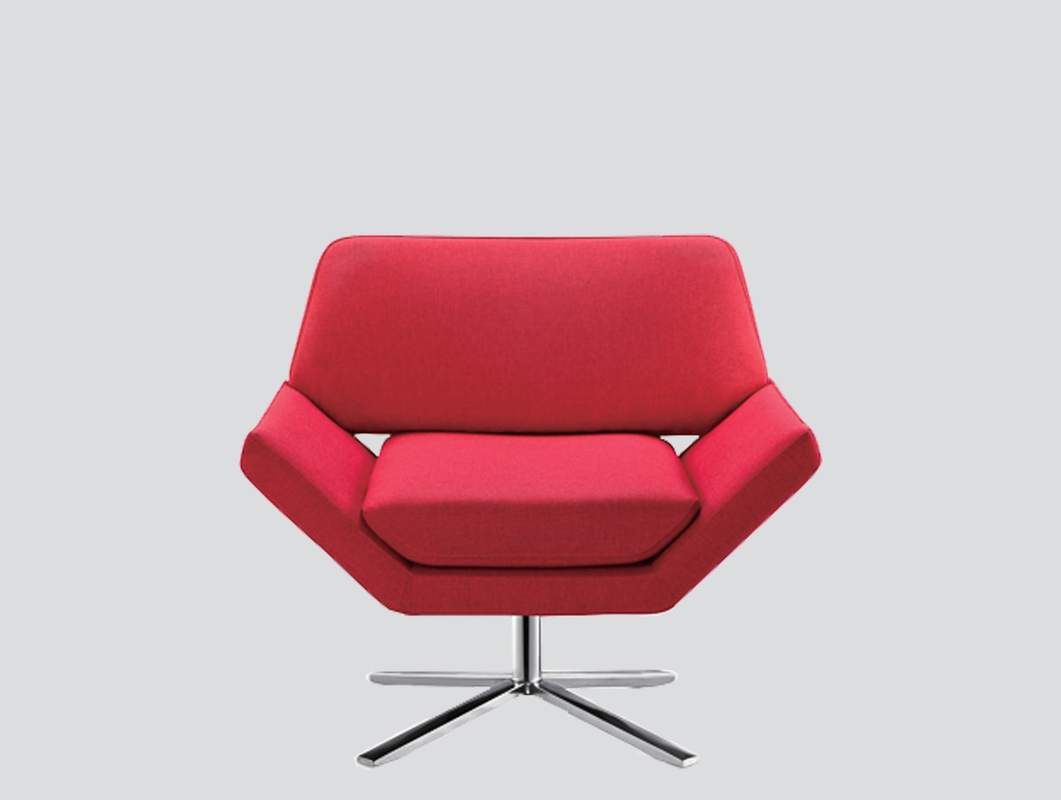 red armchair with stainless steel base