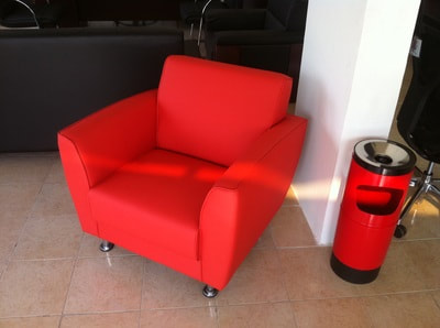 Cubo modern couch 1 seat red artificial leather
