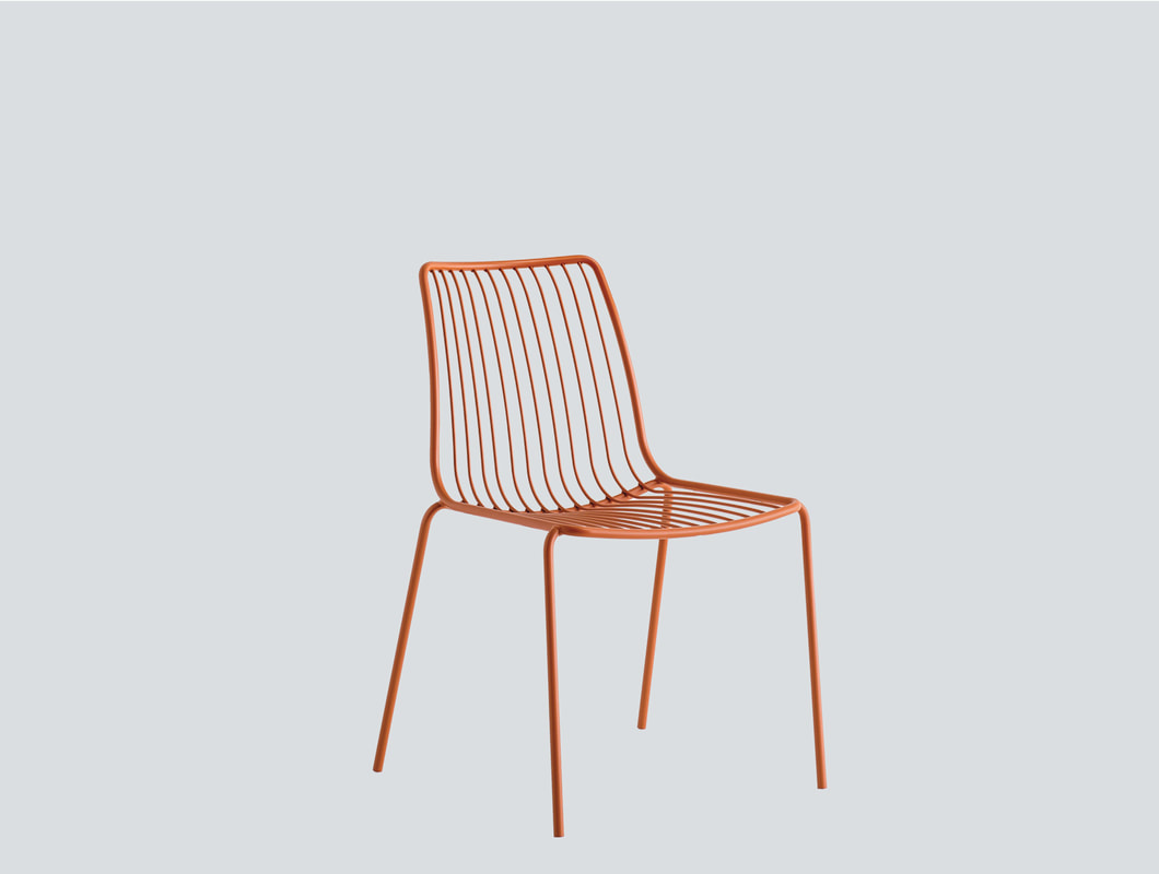 orange polypropylene chair with arms