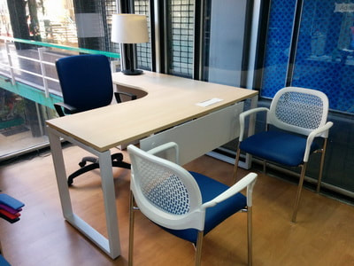 office desk white legs and visitor chair in white frame, blue color