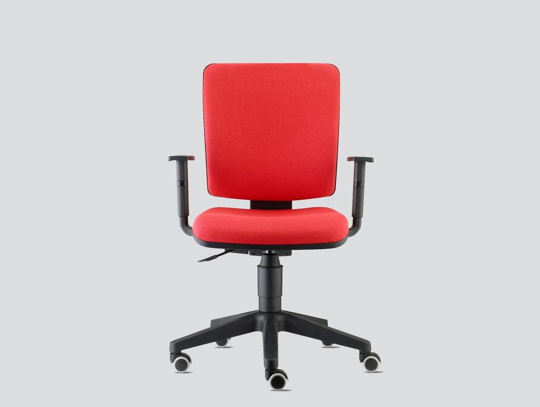 Red fabric office chair with arms