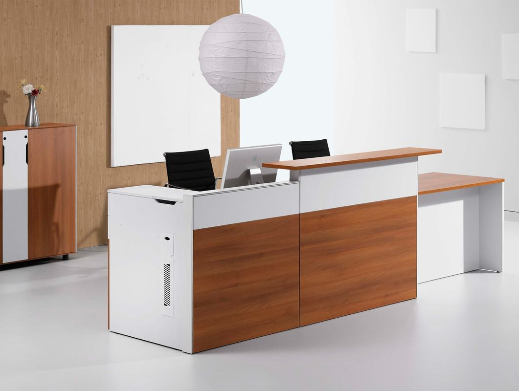 rectangular shape counter desk in white color