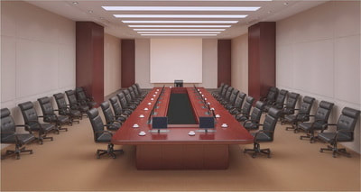 Classic conference table with lift LCD screen in Jeddah KSA