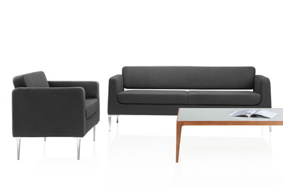 set of Italian design sofa chic model in black genuine leather with glass coffee table and wooden legs