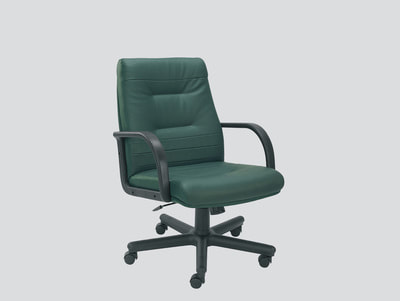 Low back leather chair with arms