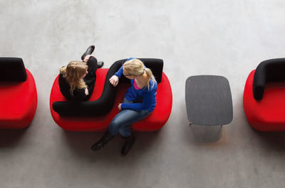 irregular sofa series designed for discussion areas upholstered in red and black fabric, moody model