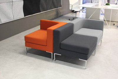 orange, light grey and dark grey fabric L shape lounge sofa and chrome legs
