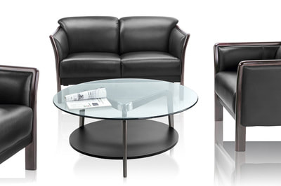 Rizzo slim couch for 2 persons in black leather wooden frame and with round glass table