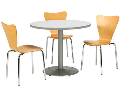 beech-wood cafeteria chairs with round table with chrome base in Lebanon