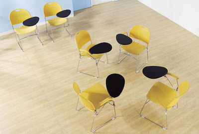 yellow plastic chair with anti-panic pad chrome wire frame
